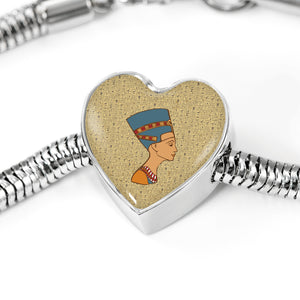Nefertiti Heart Steel Egyptian Bracelet - Pharao Store
