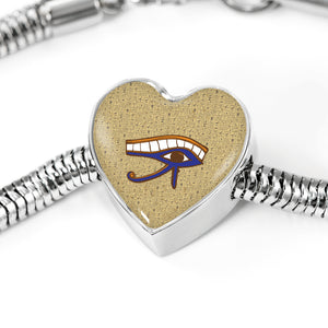 Eye of Horus Heart Steel Egyptian Bracelet - Pharao Store