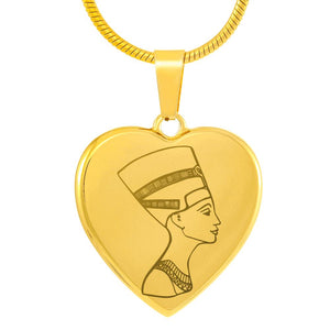 Nefertiti Engraved Egyptian Necklace Heart - Pharao Store