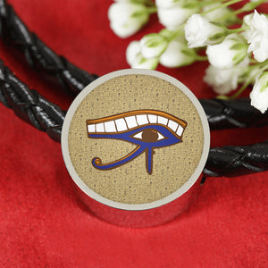 Eye of Horus Circle Leather Egyptian Bracelet - Pharao Store