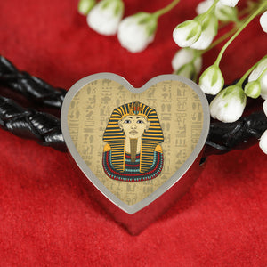 King Tut Heart Leather Egyptian Bracelet - Pharao Store