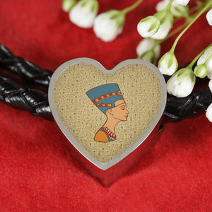Nefertiti Heart Leather Egyptian Bracelet - Pharao Store
