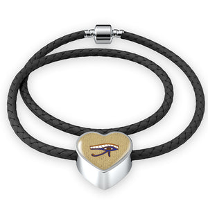 Eye of Horus Heart Leather Egyptian Bracelet - Pharao Store