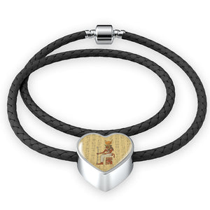Heart Leather Egyptian Bracelet - Pharao Store