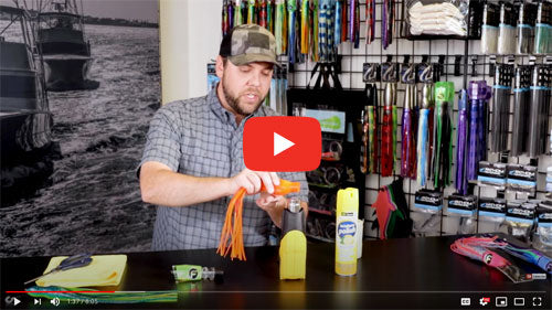 video link for how to skirt a saltwater trolling lure with a lure replacement skirt