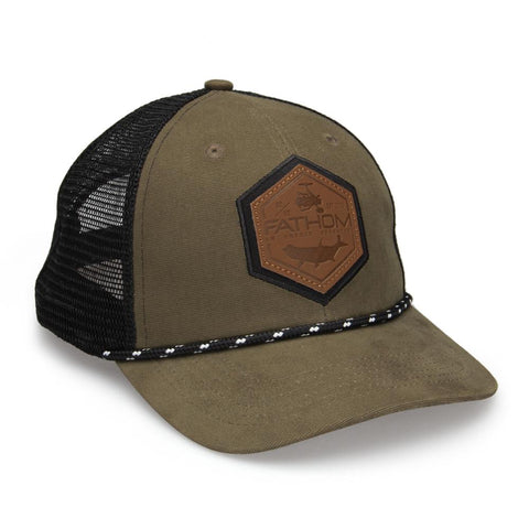 green fathom hat with leather patch