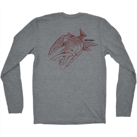 back of old red fish long sleeve t-shirt