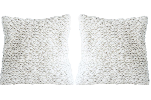 2 x Large Wool Cable Knit Pillow w/insert
