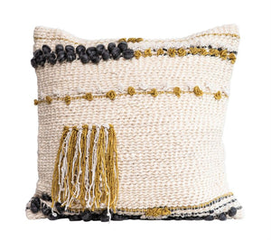 Multi-color Woven Tassels Pillow w/insert
