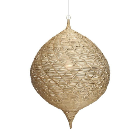"Strands of rattan core are artfully woven around a Moorish-inspired wire frame with a white painted loop handle. Opening in top is a 4"" x 3"" triangle. The separate Pendant kit is ETL listed/conforms to UL Standard No. 1598, certified to CSA STD. C22.2 NO. 250.0. Maximum wattage is 60W."