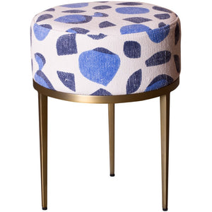 Blue Upholstered Stool