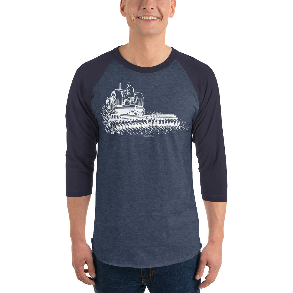Tractor and Plow Men's 3/4 Sleeve Raglan Shirt