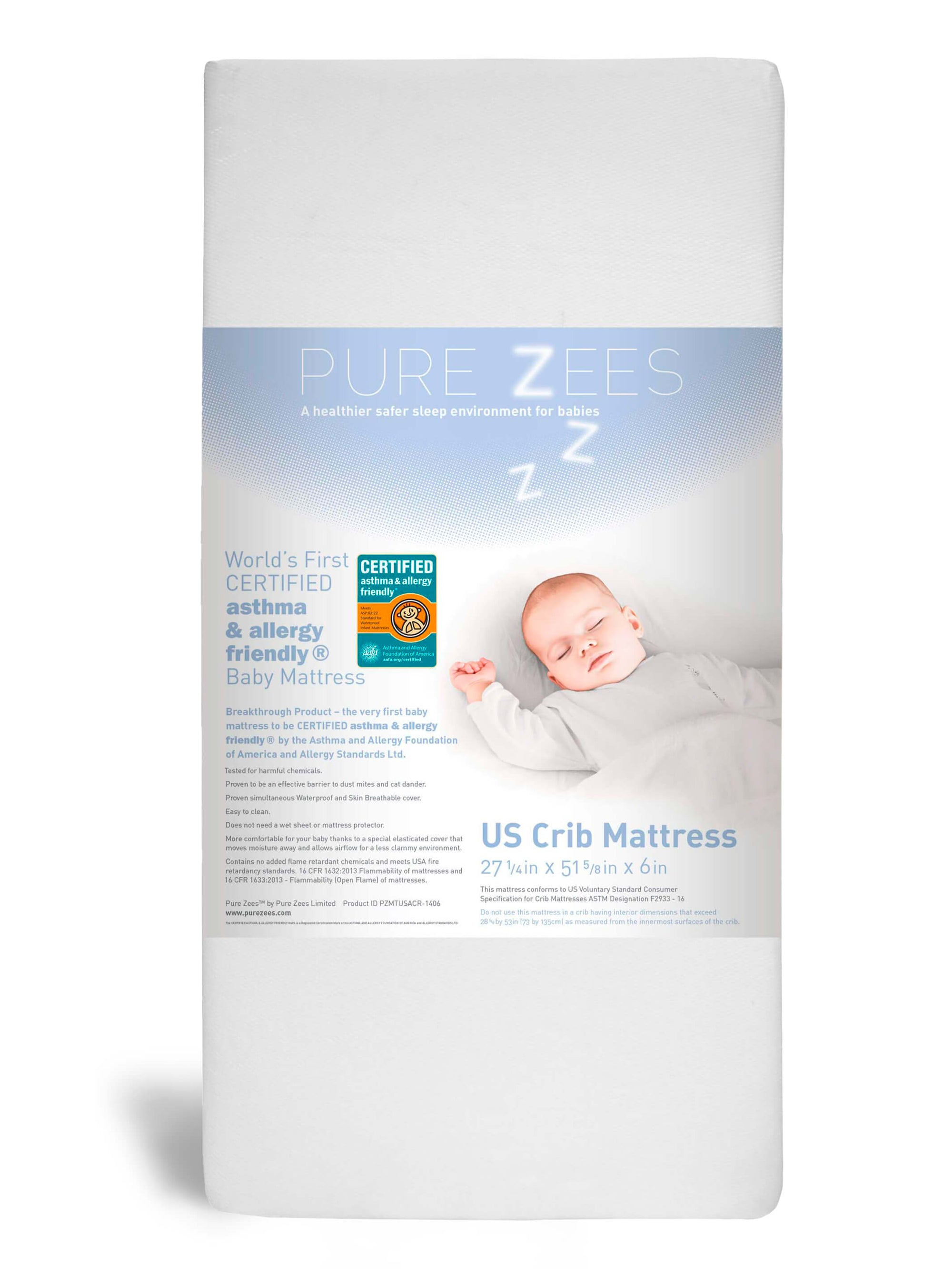 Pure Zees US Baby Crib Mattress 52 x 28 inches asthma & allergy friendly® certified