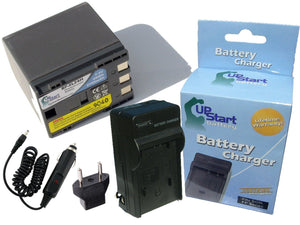 Canon ZR100 Battery and Charger with Car Plug and EU Adapter (2700mAh, 7.4V, Lithium-Ion)