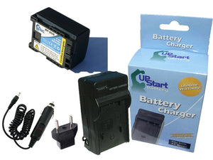 Canon FS40 Battery and Charger with Car Plug and EU Adapter (BP-808 Decoded)