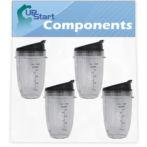 4 Pack UpStart Components Replacement 18 oz Cup with Sip No Seal Flip Lids for NutriNinja Blenders