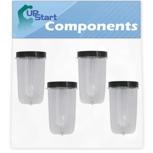 4 Pack UpStart Components Replacement Magic Bullet MB1001 16 oz Cup with Lid