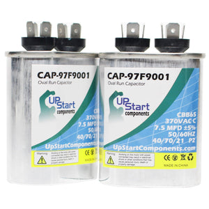 2-Pack 7.5 MFD 370 Volt Oval Motor Run Capacitor Replacement for Bryant / Carrier 565BPX036000AAAA / 0076