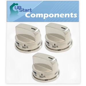 3 Pack Gas Range Knob Replacement for LG EBZ37189611 Compatible with LG LRG30357ST (AS1EJIT) Gas Range (Non Super Boil)