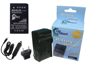 Nikon 1 J1 Battery and Charger with Car Plug and EU Adapter
