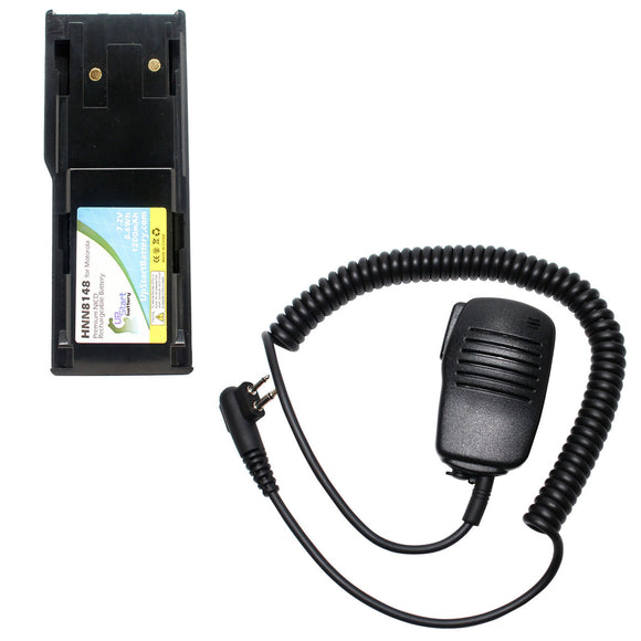 Battery & Shoulder Speaker with Push to Talk (PTT) Microphone Replacement - For