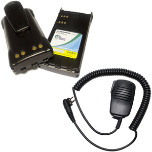 2x Pack - Motorola GP280 Battery + Shoulder Speaker with Push to Talk (PTT) Microphone Replacement