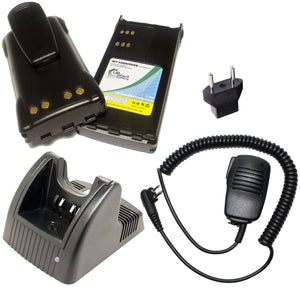 2x Pack - Motorola GP280 Battery + Charger + Shoulder Speaker with Push to Talk (PTT) Microphone + EU Adapter Replacement