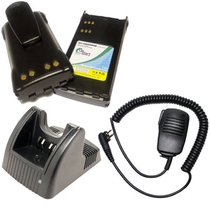 2x Pack - Motorola GP280 Battery + Charger + Shoulder Speaker with Push to Talk (PTT) Microphone Replacement