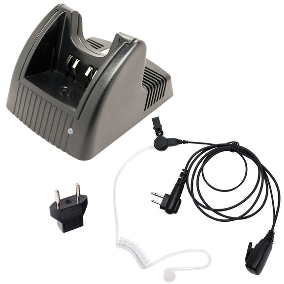 Motorola GP280 Charger, FBI Earpiece with Push to Talk (PTT) Microphone Replacement & EU Adapter