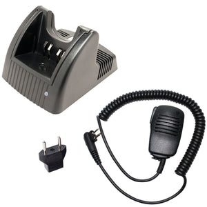 Motorola GP280 Charger, Shoulder Speaker with Push to Talk (PTT) Microphone Replacement & EU Adapter