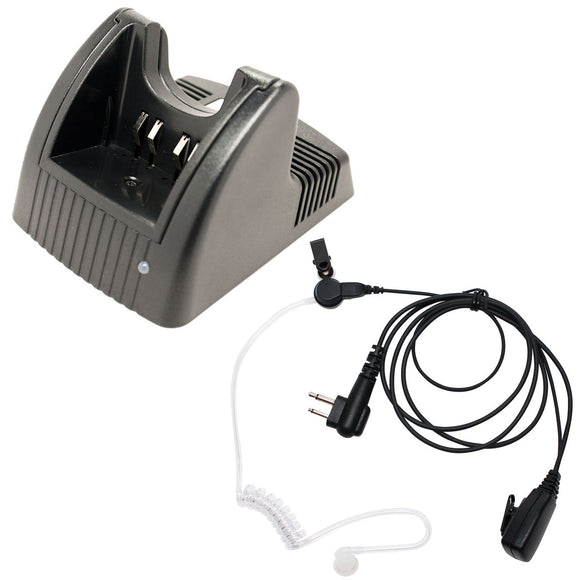 Motorola GP280 Charger & FBI Earpiece with Push to Talk (PTT) Microphone Replacement