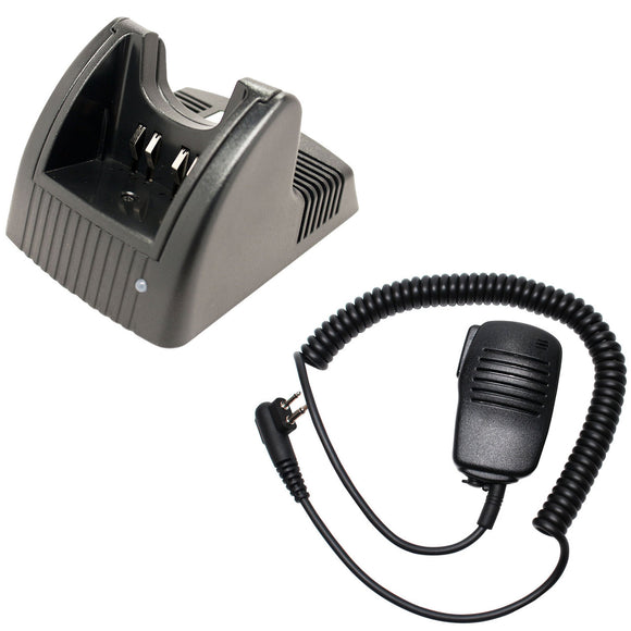 Motorola GP280 Charger & Shoulder Speaker with Push to Talk (PTT) Microphone Replacement