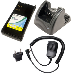 Motorola GP280 Battery + Charger + Shoulder Speaker with Push to Talk (PTT) Microphone + EU Adapter Replacement