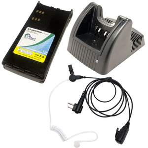 Motorola GP280 Battery + Charger + FBI Earpiece with Push to Talk (PTT) Microphone Replacement