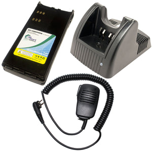 Motorola GP280 Battery + Charger + Shoulder Speaker with Push to Talk (PTT) Microphone Replacement