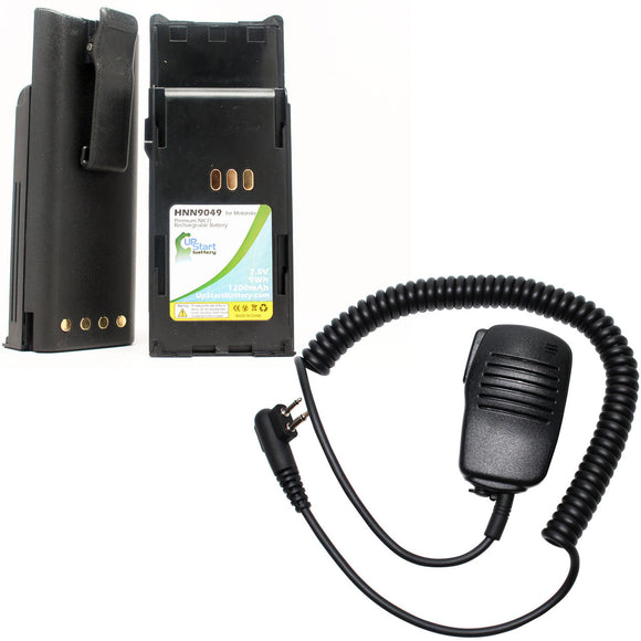 2x Pack - Motorola P1225 Battery + Shoulder Speaker with Push to Talk (PTT) Microphone Replacement