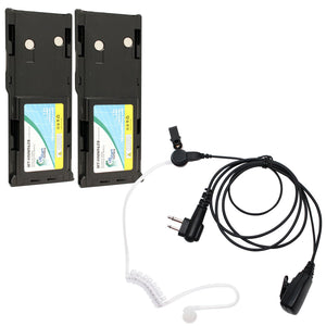 2x Pack - Motorola GP300 Battery + FBI Earpiece with Push to Talk (PTT) Microphone Replacement  (1800mAh, NIMH)