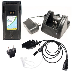 Motorola MTX1000 Battery + Charger + FBI Earpiece with Push to Talk (PTT) Microphone + EU Adapter Replacement