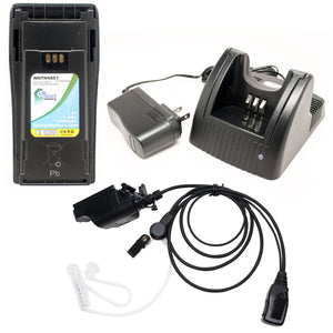 Motorola MTX1000 Battery + Charger + FBI Earpiece with Push to Talk (PTT) Microphone Replacement
