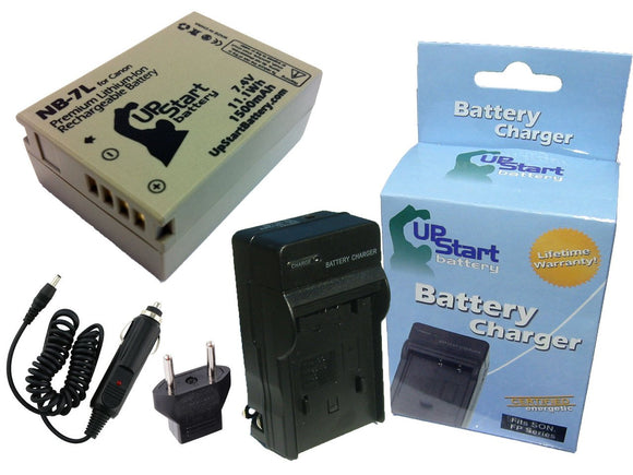 Canon NB-7L Battery and Charger with Car Plug and EU Adapter