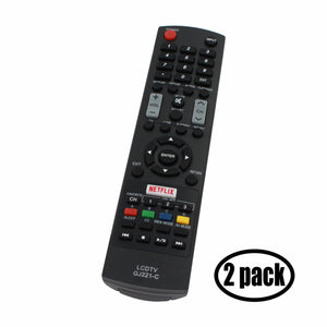 2-Pack Replacement for Sharp GJ221 TV Remote Control - Works with Sharp LC 55LE653U, LC 32LE451U, LC 65LE654U, LC 48LE653U, LC 48LE551U, LC55LE653U, LC 39LE551U, LC 32LE653U, GJ221, LC65LE654U TVs