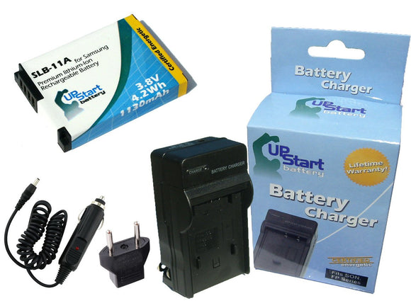 Samsung SLB-11A Battery and Charger with Car Plug and EU Adapter