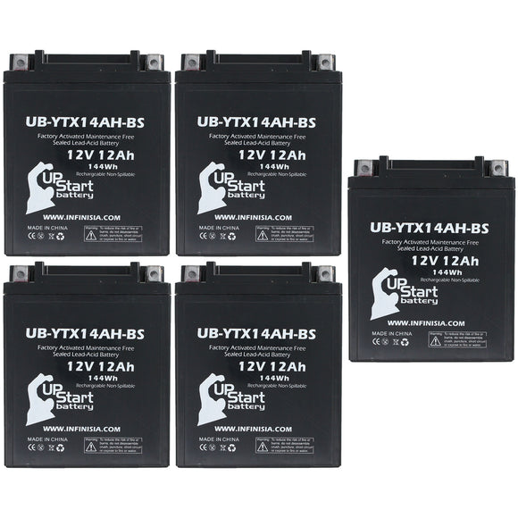 5 Pack Replacement for YTX14AH-BS Battery 12V 12AH SLA - Compatible with 2018 Polaris Ranger, 2018 Polaris Sportsman, 1992 Honda Cb750 Nighthawk, 2008 Arctic Cat 366, 2012 Polaris Rzr 570
