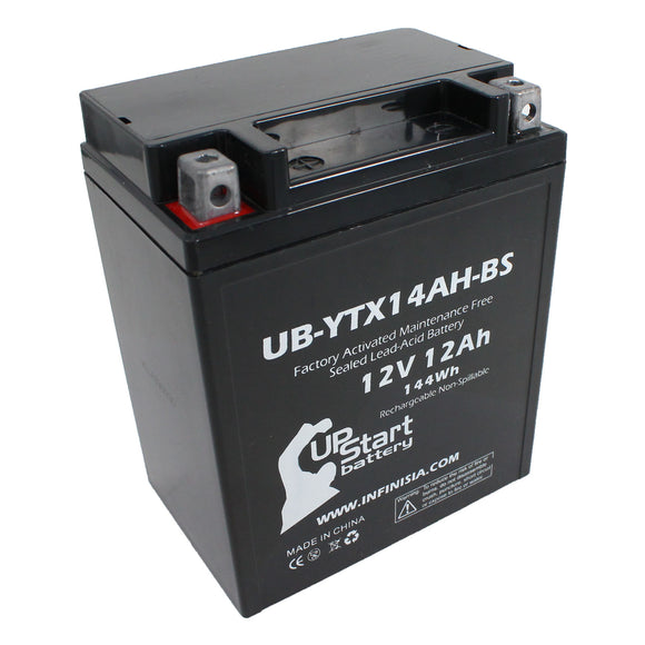 Replacement for YTX14AH-BS Battery 12V 12AH SLA - Compatible with 2018 Polaris Ranger, 2018 Polaris Sportsman, 1992 Honda Cb750 Nighthawk, 2008 Arctic Cat 366, 2012 Polaris Rzr 570, 2013 Polaris Rzr