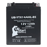 4 Pack Replacement for YTX14AHL-BS Battery 12V 12AH SLA - Compatible with 1978 Yamaha Xs650, 1979 Suzuki Gs1000, 1979 Yamaha Xs650, 1980 Yamaha Xs650, 1981 Yamaha Xs650, 1978 Suzuki Gs1000