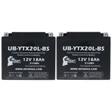 2 Pack Replacement for YTX20L-BS Battery 12V 18AH SLA - Compatible with 2010 Triumph Thunderbird 1600 CC Motorcycle, 2014 Polaris RZR 800 CC UTV, 2006 Yamaha Nytro 973 CC Snowmobile, 2008 Polaris RZR