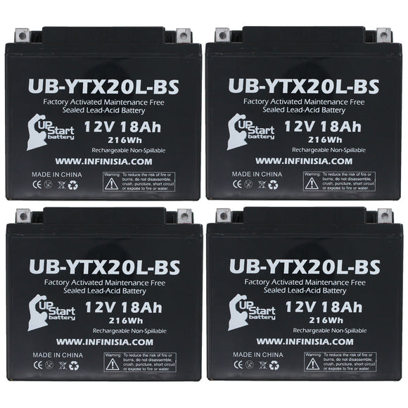 4 Pack Replacement for YTX20L-BS Battery 12V 18AH SLA - Compatible with 2010 Triumph Thunderbird 1600 CC Motorcycle, 2014 Polaris RZR 800 CC UTV, 2006 Yamaha Nytro 973 CC Snowmobile, 2008 Polaris RZR