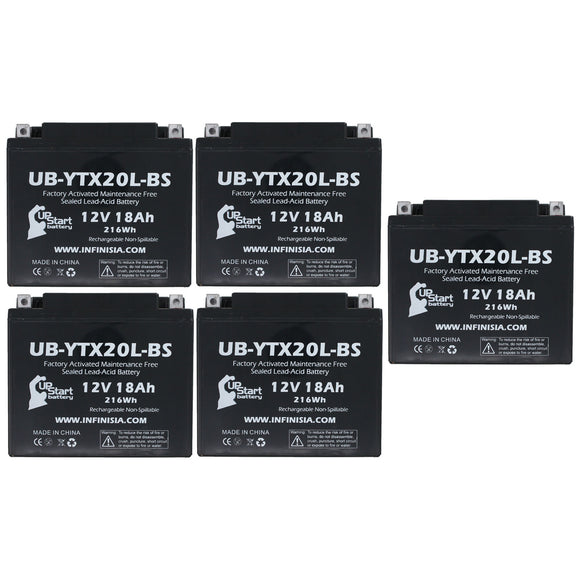 5 Pack Replacement for YTX20L-BS Battery 12V 18AH SLA - Compatible with 2010 Triumph Thunderbird 1600 CC Motorcycle, 2014 Polaris RZR 800 CC UTV, 2006 Yamaha Nytro 973 CC Snowmobile, 2008 Polaris RZR