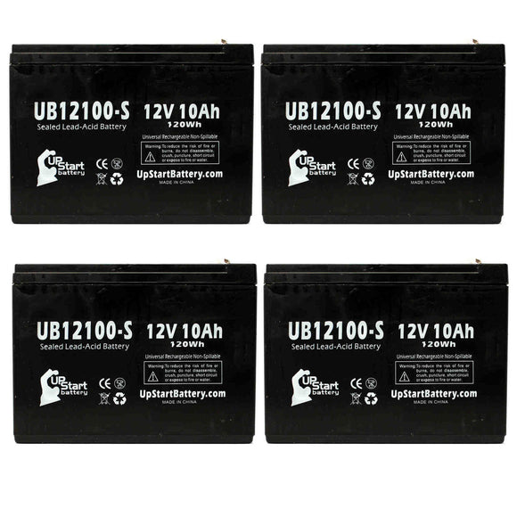4-Pack UB12100-S Sealed Lead Acid Battery Replacement (12V, 10Ah, F2 Terminal, AGM, SLA)
