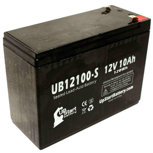 UB12100-S Sealed Lead Acid Battery Replacement (12V, 10Ah, F2 Terminal, AGM, SLA)